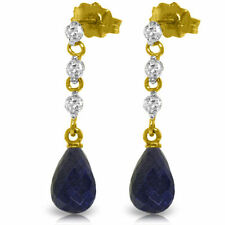 Natural Sapphire 6.6 ctw Briolette Gems & .30 ctw Diamonds Earrings in 14K. Gold