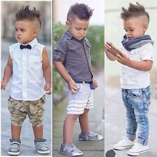 Baby Kids Boy Wedding Party Smart Casual Top+Shorts/Pants Clothes Set Age 2-7