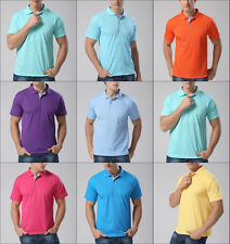 Hot Classic Men Lapel POLO Shirt Short Sleeve Solid Color Tee T-shirt Top 5 Size