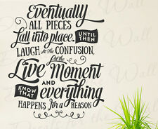 Laugh Everything Happens For A Reason Happy Wall Vinyl Decal Art Sticker Q83