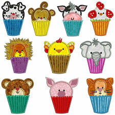 CUPCAKE ANIMALS * Machine Applique Embroidery Patterns * 10 Designs in 2 sizes