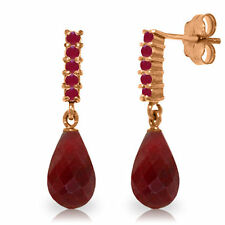 Natural Red Ruby 7 ctw Briolette Round Gemstones Dangle Earrings 14K. Solid Gold