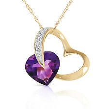 Genuine Amethyst & Diamonds Heart Pendant Necklace 14K. Yellow, White, Rose Gold