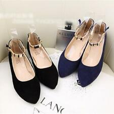 Fashion Patent Suede Women's Pointy Toe Ballet Flats Ankle Strap Shoes