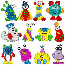MONSTERS Machine Applique Embroidery Patterns * 12 Designs 2 sizes