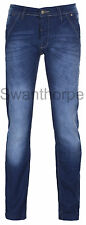 Blue Stripe Mens Boys Denim Jeans Dark Blue Urban Skinny Slim Fit Pants
