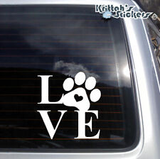 Love Dog Paw Vinyl Decal pet adoption animal puppy rescue heart car sticker K579