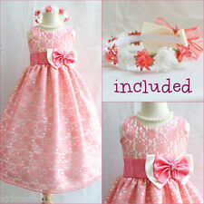 Beautiful Coral brocade wedding flower girl party dress FREE HEADPIECE all sizes