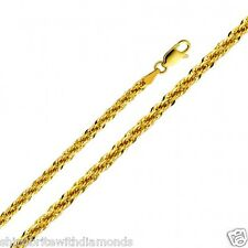 Real 14k Yellow Gold 3mm Thick Fancy Semi-Hollow Rope Chain 18 20 22 24 Inches
