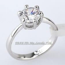 Fashion Solitaire Engagement Wedding Ring 18KGP Crystal Size 5.5-9