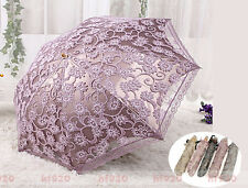 Folding Ladies Summer Lace Princess Anti-UV Parasol Umbrella for Sun protection