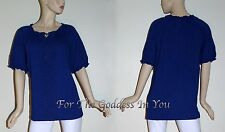T221 ROYAL BLUE LIZ & ME EMBROIDERED LACE PEASANT TOP WOMENS PLUS SIZE 1X 2X 3X