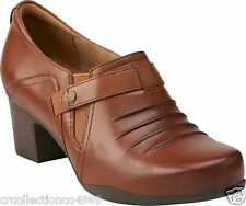 New Clarks Womens Causal Slip On Rosalyn Nicole Dark Tan Leather Shoes 26112220