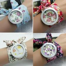 Chic Women Girls Wrap Around Rose Flower Scarf Band Analog Quartz Wrist Watches