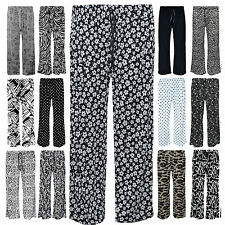 New Ladies Womens Pants Trousers Palazzo Wide Plain Flared Pyjama Pj Plus Size