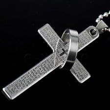 LORDS PRAYER Cross Necklace & Pendant Stainless Steel SILVER BLACK OR BLUE