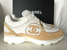 2015 CHANEL CC WHITE BEIGE GOLD SNEAKERS TENNIS SHOES TRAINERS 38 NIB