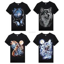 Casual Mens Crew Neck Shirts Fashion 3D Animal Printed Top Tee T-Shirt XXXL U26
