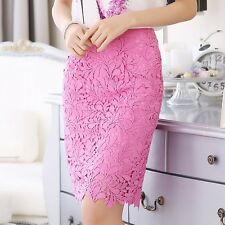 Sexy Women Lady Lace CrochetFloral Hollow Tiered Bodycon Pink Midi Pencil Skirt