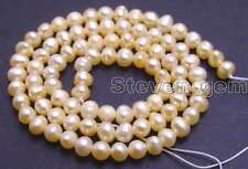 """SALE small 4 to 5mm Pink Natural Freshwater round  Pearl Loose Bead 14""""-lo634"""