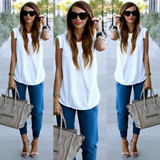 Women's Summer Casual Fashion Sexy Sleeveless White Chiffon Tops Blouse T shirt