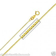 Solid 14k Yellow Gold 0.6mm Box Chain 16 18 20 22 24 26 Inches