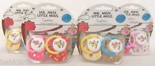 Mr Men & Little MIss baby dummy soother 2 pk boy girl 6m+ Sunshine Bump etc