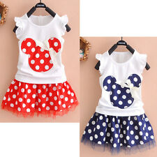 2015 NEW Toddler Baby Girls Kids Princess Party Mickey Mouse Dress Dot Dresses