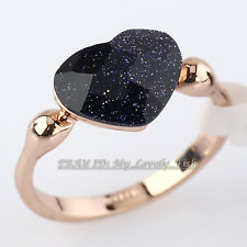 Fashion Simulated Stone Heart Ring 18KGP Crystal Size 5.5-9