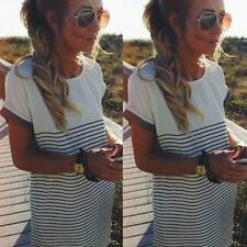 Summer Womens Loose Cotton T Shirt Tops Stripe Mini Dress Long Blouse Tee Shirts