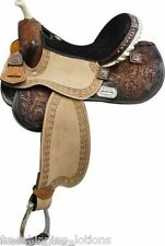 "15"" DOUBLE T BARREL SADDLE WITH BARREL RACER CONCHOS FULL QH  BARS MEDIUM OIL"