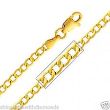 Solid 14k Yellow Gold 2.3mm Semi-Hollow Cuban Chain 16 18 20 22 24 26 Inches