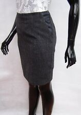 MARKS & SPENCER AUTOGRAPH GREY/BLUE WOOL MIX PENCIL SKIRT WITH PU TRIM 8 TO 18