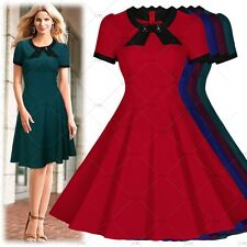 Womens PInup Retro 50's Vintage Cocktail Party Prom Dress Swing Skirt Dresses