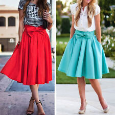 Women Stretch High Waist Plain Skater Flared Pleated Long Maxi Party Skirt Dress