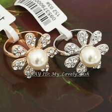 Fashion Pearl Flower Ring 18KGP Crystal Size 5.5-9
