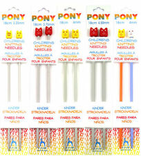 Pony Childrens Kids Knitting Needles Pins Sizes From 3.25mm - 4.5mm Junior Knit
