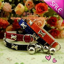 1PCS Dog Puppy Cat Pet Velvet Bell Collar Pendant PU Leather Collar Colorful