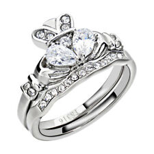 Women's Irish Claddagh Cubic Zirconia Stainless Steel Wedding Ring Set Sz 5-10