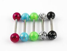 Surgical Steel BARBELL Acrylic SPECKLED PRINT Balls 1.6 x 14mm Tongue Nipple Bar