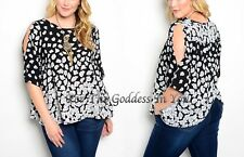 T317 OPEN BACK & SHOULDER BLACK & WHITE FLORAL TOP  JUNIOR PLUS SIZE XL 2X 3X