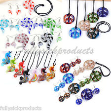 1 Set Lampwork Glass Peace Logo Murano Pendant Necklace Hook Earring Womens Gift