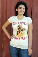 Outlaw Cowgirls Wanted Premium Cotton Tee Organic Inks Bronco Rodeo Made in USA