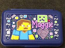 Bling Minecraft Custom Personalized Pencil Crayon Box Creeper Bedazzle Rhineston