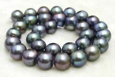 "SALE Big 10-11mm Black Natural Freshwater round pearl Loose Beads 14""-los178"