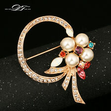 New Pearl Bead Flower 18KRGP Vintage Pins and Brooches Ctystal Jewelry For Women