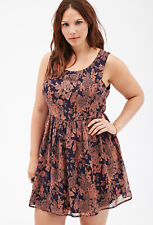 Forever 21 Plus Size Rose Print  Floral  Party flared Skater Dress XL1X2X3X