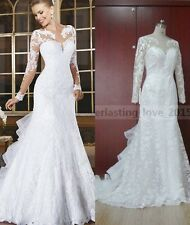 Elegant Lace Full Sleeve Boat Neck Wedding Dress For Bridal Women Special Gowns