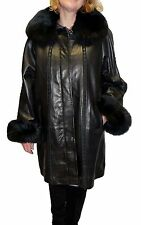 Knoles&Carter Women's Plus Size Leather Coat with Fox Trimming