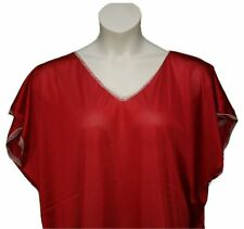 Women's Plus Size Soft Polyester Semi Sheer Nightgown w Lace Trim